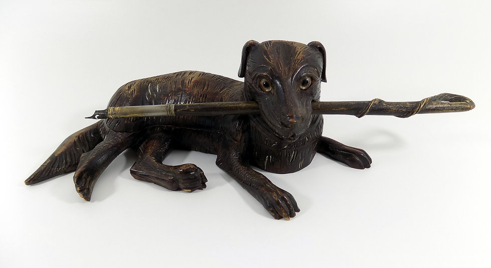 Antique Hand Carved Black Forest Inkwell, Full Figural Dog, Glass Eyes, c1900
