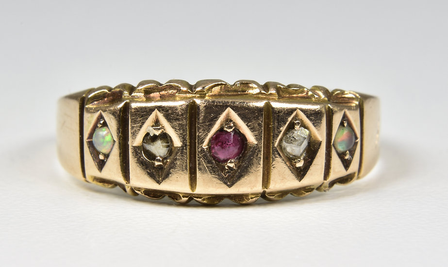 Antique Victorian 15ct Gold Ruby, Diamond & Fire Opal Ring, (Chester, 1895)