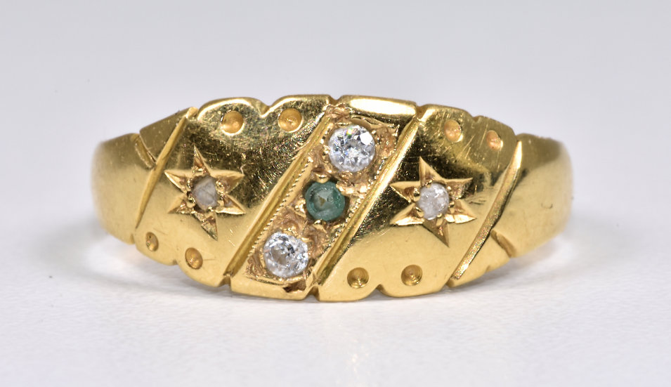 Antique Art Deco 18ct Gold Emerald & Diamond Gypsy Ring, (Birmingham,1929)