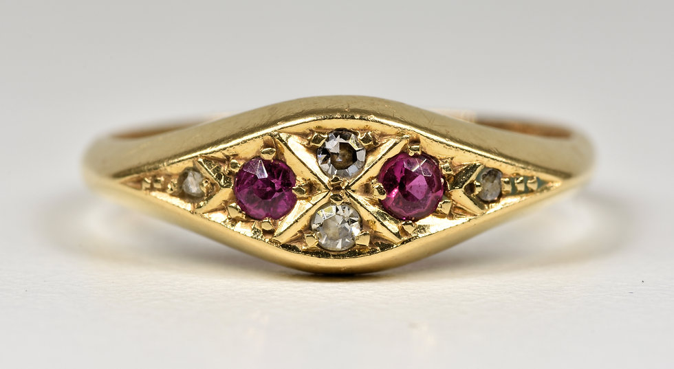 Antique Art Deco 18ct Gold Diamond & Ruby Ring, (Birmingham,1922)
