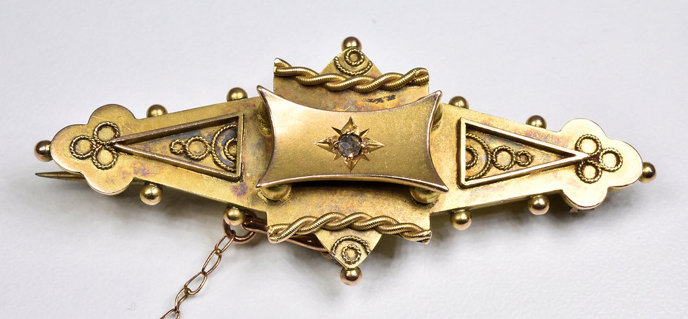 Antique Victorian 9ct Gold Diamond Mourning Brooch, (1898) Original Box