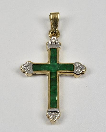 Vintage 9ct Gold Emerald & Diamond Crucifix Pendant, (Birmingham,1976)
