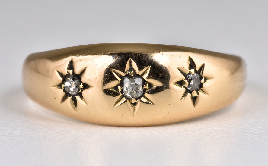 Antique Edwardian 18ct Gold Diamond Gypsy Ring, (Birmingham, 1906)