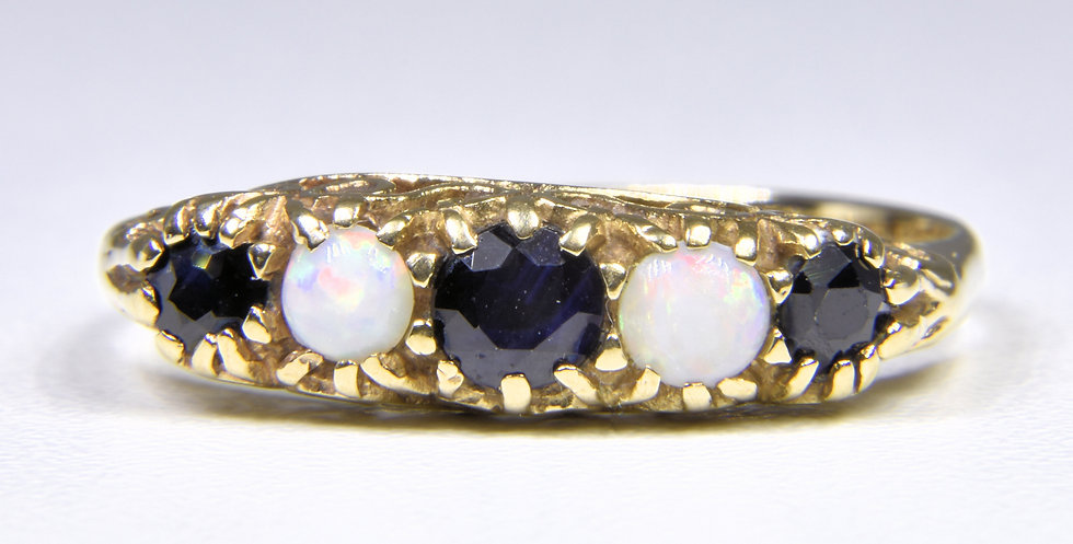 Vintage 9ct Gold Sapphire & Fire Opal Ring, (London, 1990)