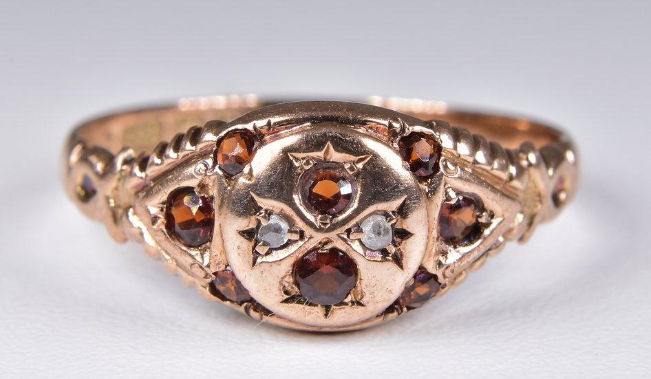 Antique Victorian 9ct Rose Gold Garnet & Diamond Gypsy Ring, (Birmingham,1887)