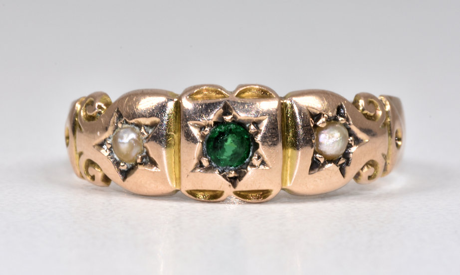 Antique Edwardian 9ct Rose Gold Seed Pearl & Glass Gypsy Ring, (Chester,1906)