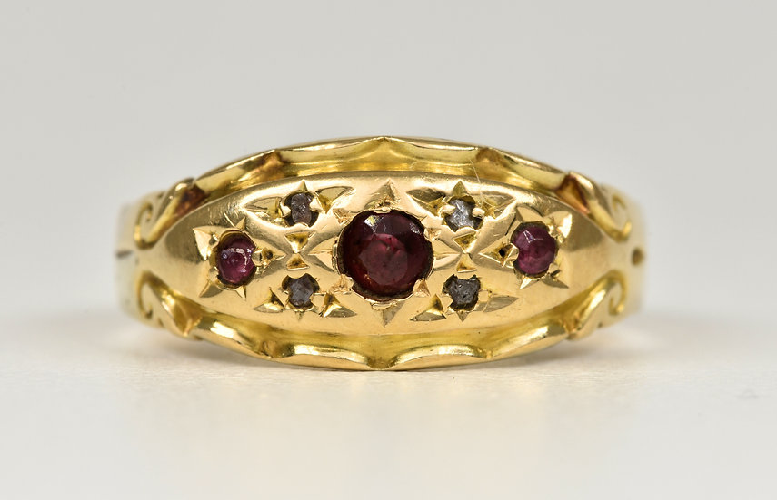 Antique Edwardian 18ct Gold Garnet & Diamond Gypsy Ring, c1905