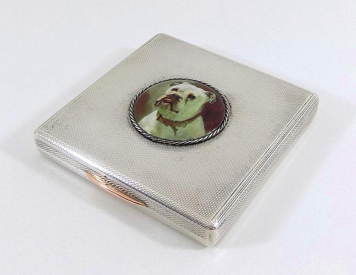 Vintage Solid Silver Powder Compact with Enamel Bulldog, (Asprey & Co Ltd, 1964)
