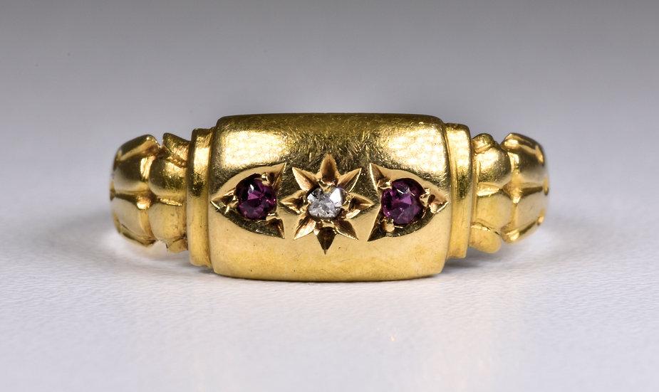 Antique Edwardian 18ct Gold Ruby & Diamond Gypsy Ring, (Birmingham,1903)