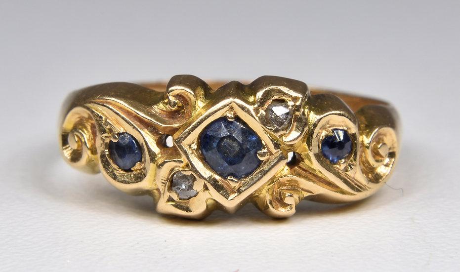 Antique Edwardian 18ct Gold Sapphire & Diamond Gypsy Ring, (Birmingham,1908)