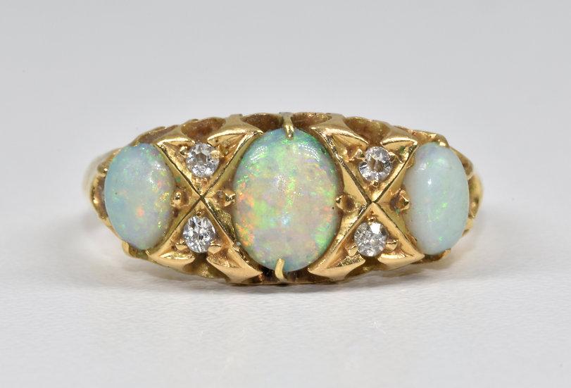 Antique Early Edwardian 18ct Gold Fire Opal & Diamond Ring, Birmingham, 1902