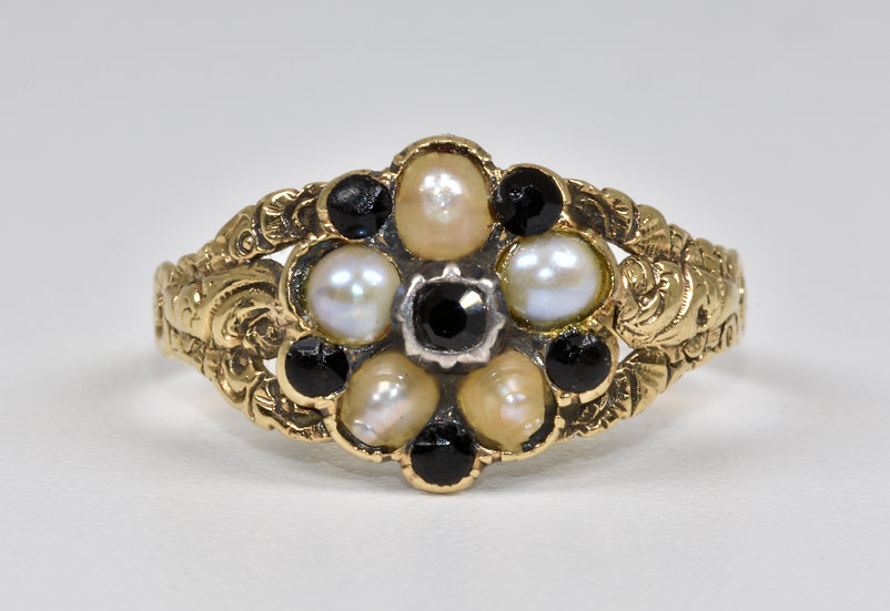 Antique William IV 18ct Gold Forget Me Not Black Stone Pearl Memorial Ring,1834