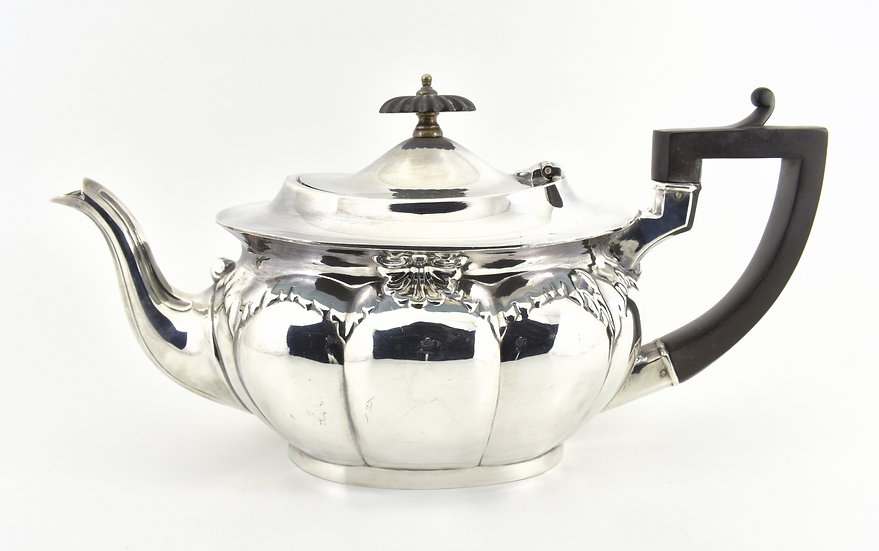 Antique English Victorian Silver Plated Teapot (Harrison Fisher c1890)