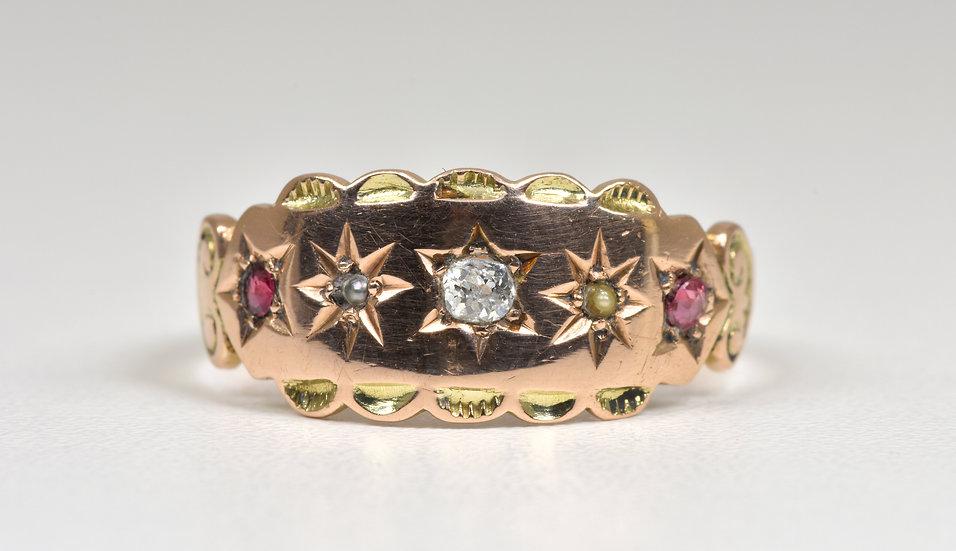 Antique George V 9ct Rose Gold Diamond Garnet Seed Pearl Gypsy Ring, B'ham, 1914