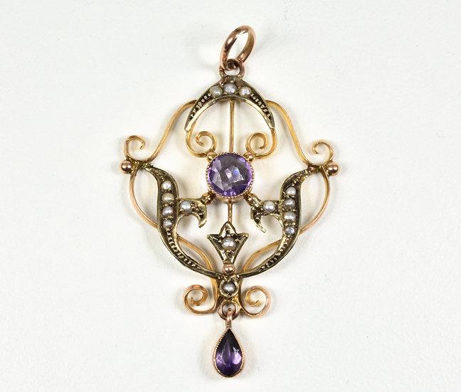 Antique Art Nouveau 9ct Rose Gold Amethyst & Seed Pearl Lavalier Pendant, c1900