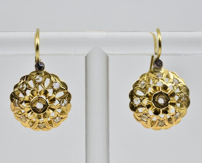 Antique Georgian 18ct Gold & Diamond Earrings, (c1800)