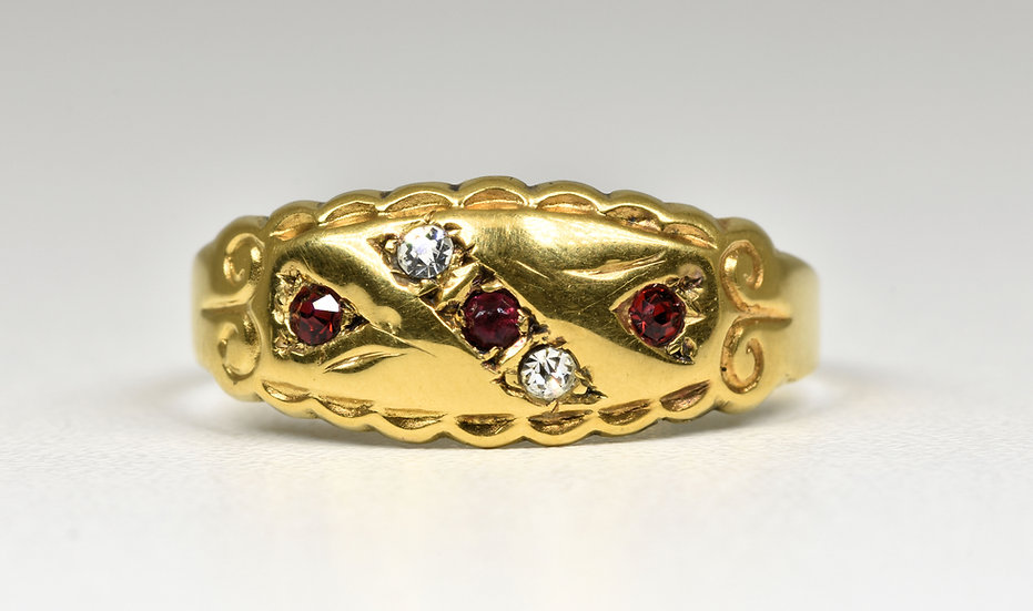Antique Edwardian 9ct Gold Glass Gypsy Ring, (Birmingham, 1904)