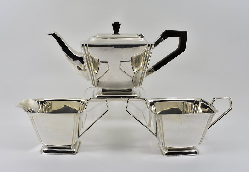 Antique English Art Deco Silver Plated 3 Piece Tea Set, c1935