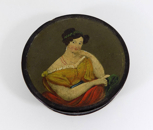 Antique Victorian Papier Mache Patch Box, c1840