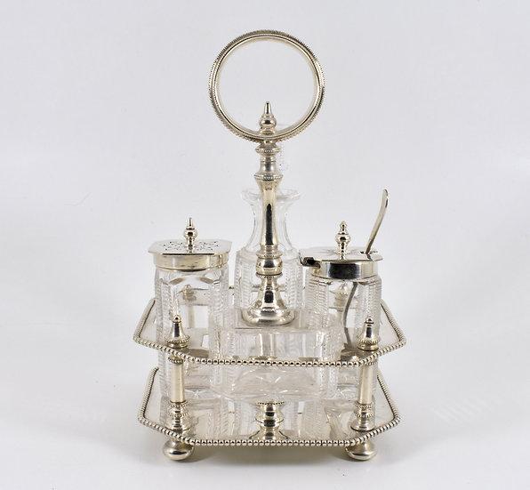 Antique Edwardian Silver Plated 4 Piece Condiment Set (James Dixon & Son c1905)