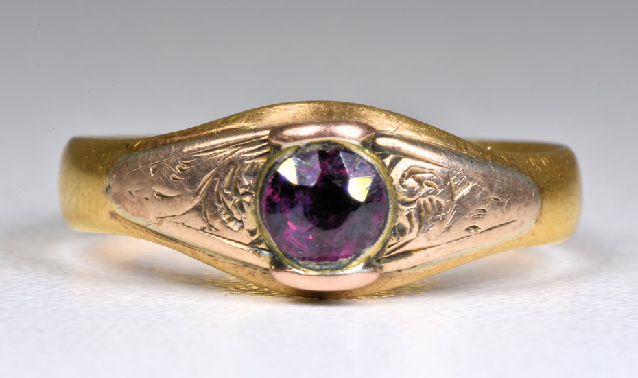 Antique Victorian 22ct Gold Amethyst Ring, (Birmingham,1877)
