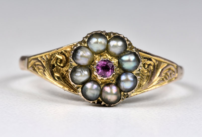 Antique Georgian 18ct Gold Pink Sapphire & Pearl Daisy Cluster Memorial Ring,