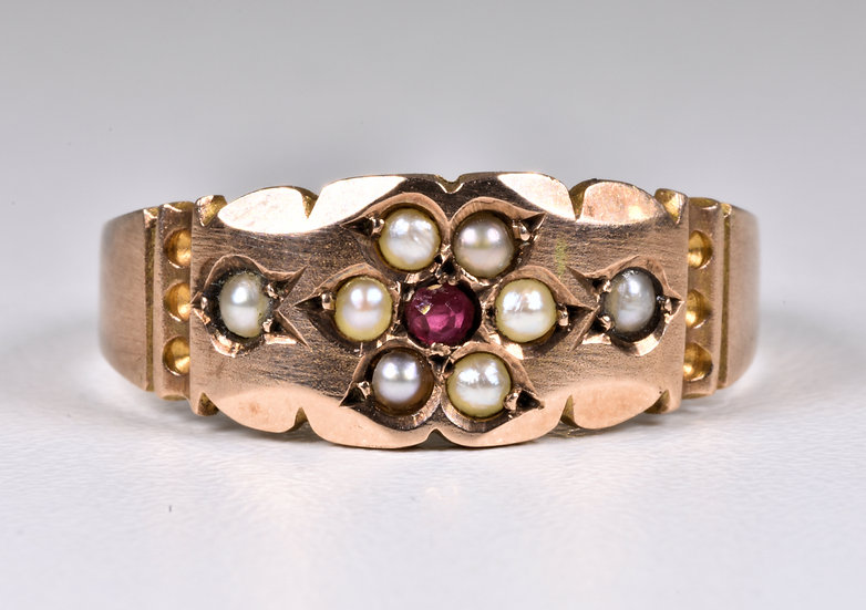 Antique Victorian 9ct Gold Ruby & Seed Pearl Ring, (Birmingham, 1894)