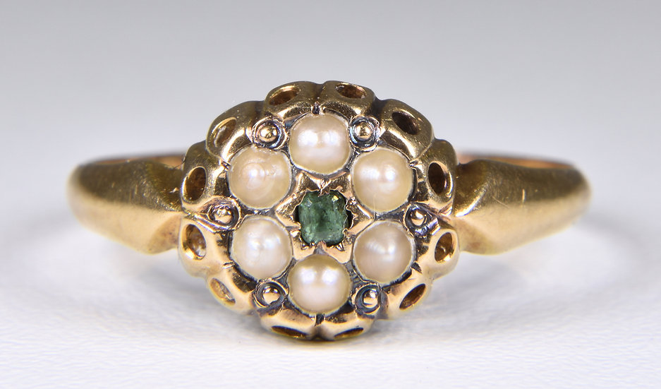 Antique Late Victorian 18ct Gold Emerald & Pearl Daisy Cluster Ring, c1895