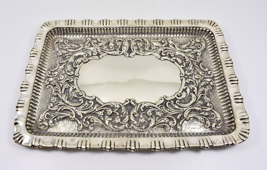 Antique English Edwardian Solid Silver Dressing Table Jewellery Tray (1902)