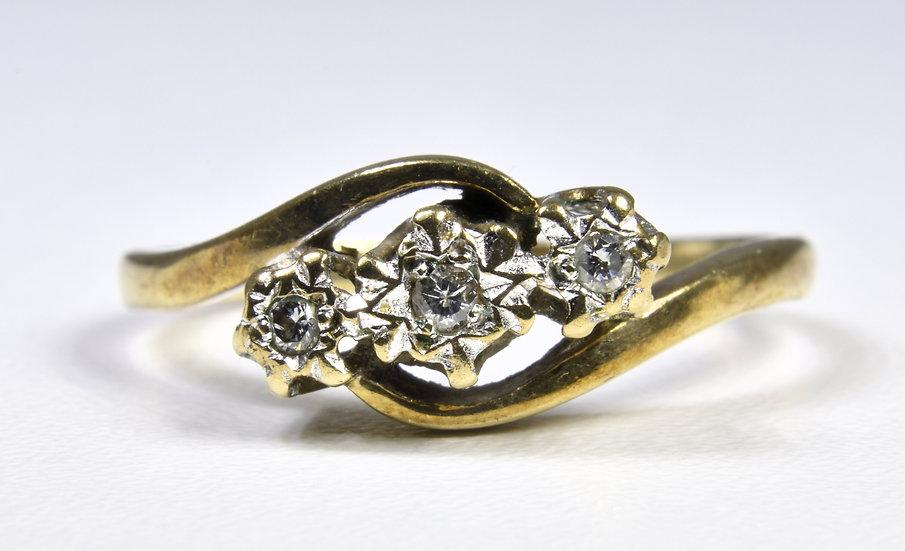 Vintage 9ct Gold 3 Stone Diamond Twist Ring, 1980's