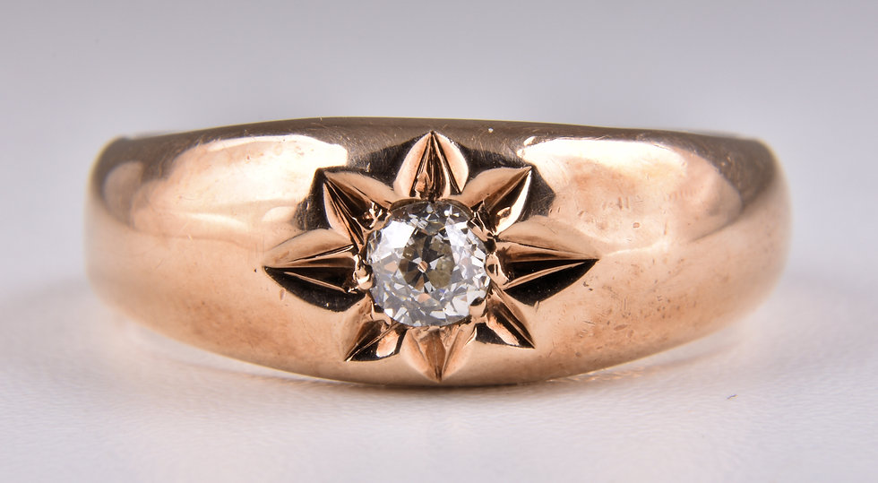 Vintage 9ct Rose Gold Diamond Solitaire Gypsy Ring, (Birmingham, 1976)