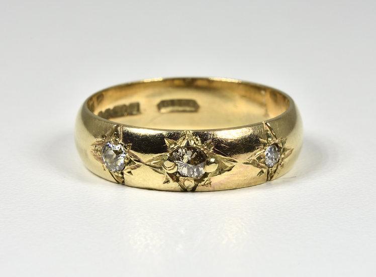 Vintage 9ct Gold Diamond Gypsy Ring, (Birmingham, 1979)