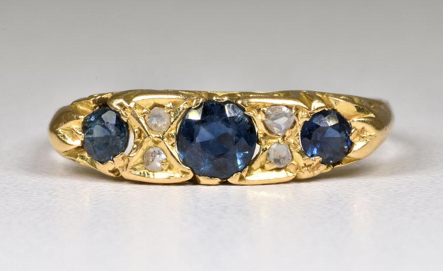 Antique George V 18ct Gold Sapphire & Diamond Ring, Original Box (Chester,1913)