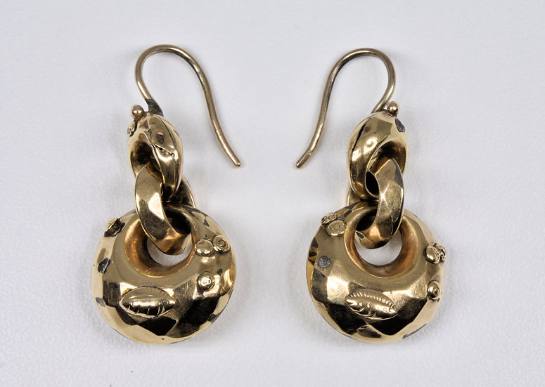 Antique Victorian 9ct Gold Puff Hoops Earrings, C1880