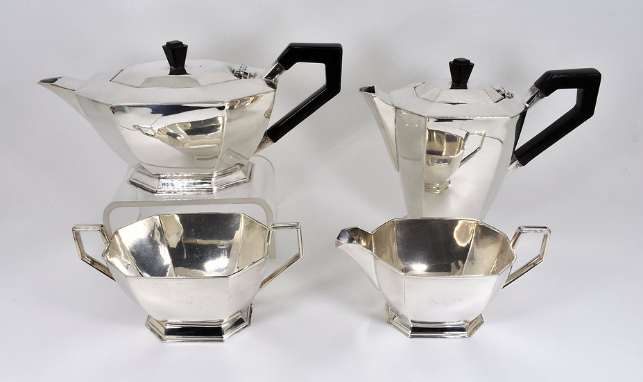 Antique Art Deco Silver Plated 4 Piece Tea Set (Elkington & Co, c1930)