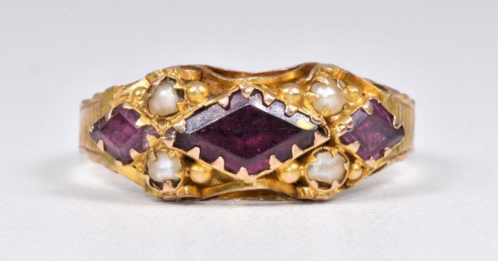 Antique Victorian 9ct Gold Almandine Garnet & Seed Pearl Ring (Birmingham,1872)