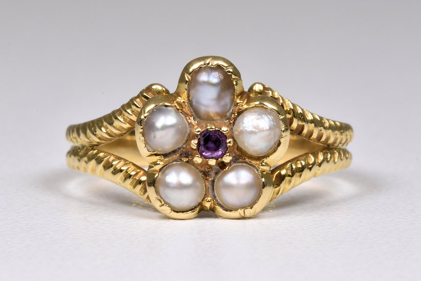 Antique Georgian 15ct Gold Forget Me Not Garnet & Pearl Memorial Ring, c1825