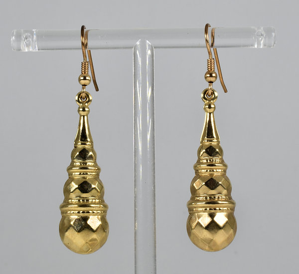 Antique Victorian 9ct Gold Torpedo Earrings, C1880