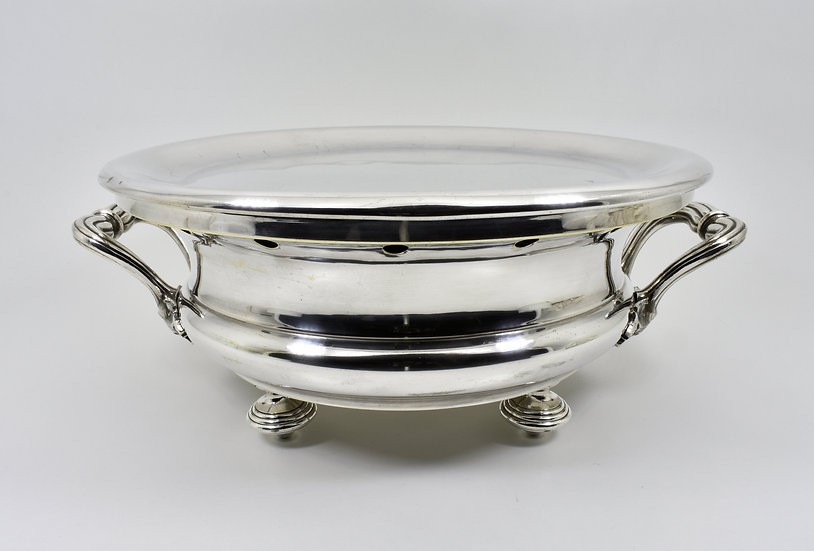 Antique Christofle Edwardian Silver Plated Food Warming Dish, c1905