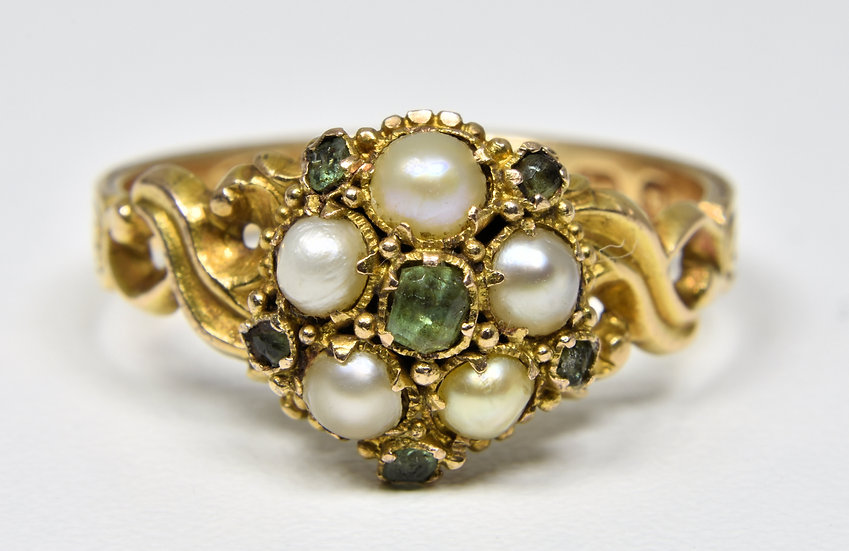 Antique Victorian 15ct Gold Forget Me Not Emerald & Pearl Memorial Ring, (1864)