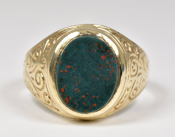 Antique Mens Victorian 9ct Gold Blood Stone Ring, c1880