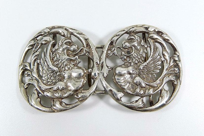 Antique English Victorian Solid Silver Nurses Buckle, (Levi & Salaman, 1900)
