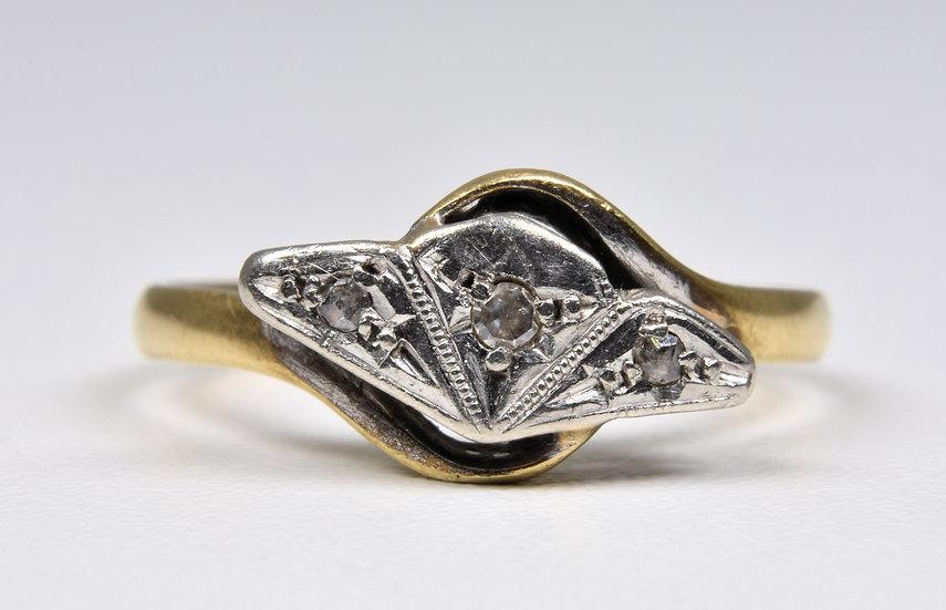 Antique Art Deco 9ct Gold & Platinum Diamond Fan Ring, (1930's)