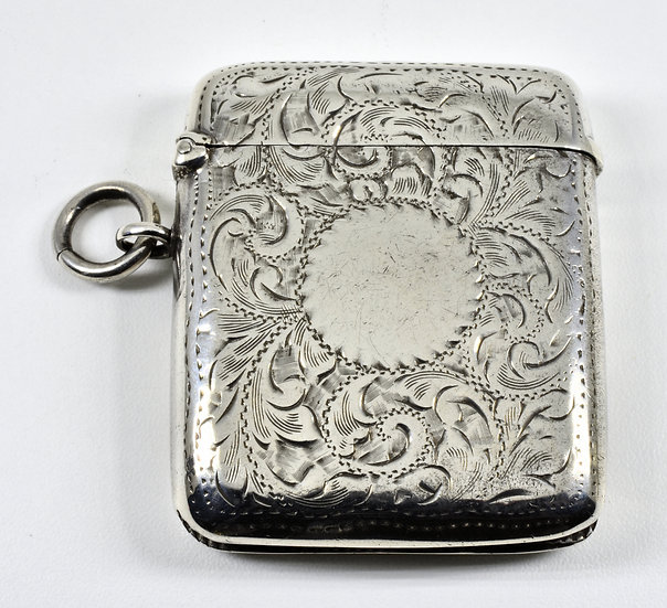 Antique English Victorian Solid Silver Vesta Case (T H Hazlewood & Co, 1900)