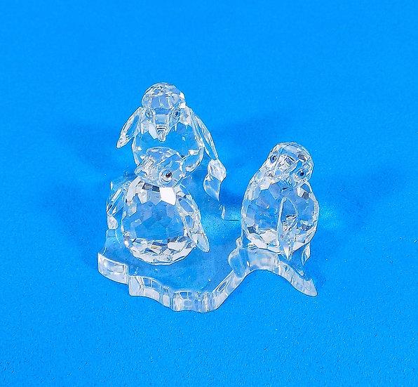 Swarovski Silver Crystal Penguins,Certificate & Original Case