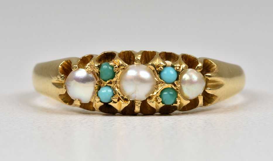 Antique Edwardian 18ct Gold Turquoise & Half Pearl Ring, (Chester, 1904)