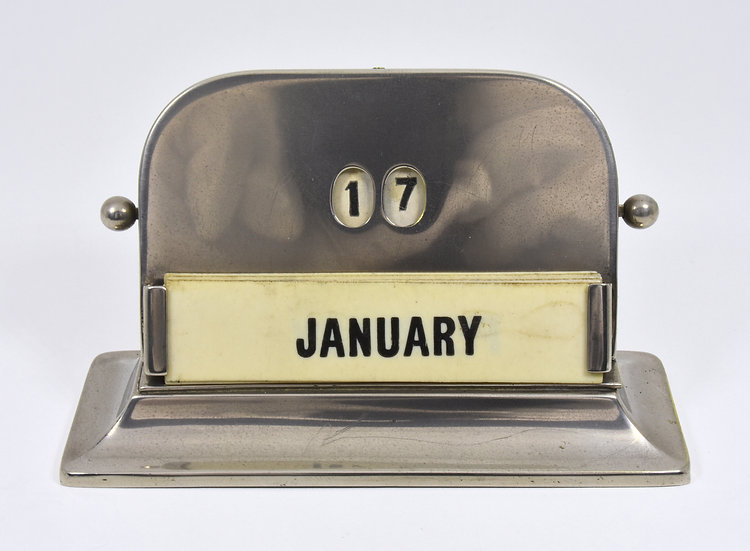 Antique English Silver Plated Art Deco Perpetual Desk Calendar, c1935