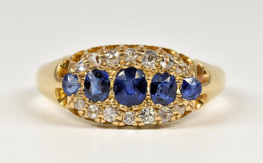 Antique Edwardian 18ct Gold Sapphire & Diamond 3 Row Gallery Ring, (1909)