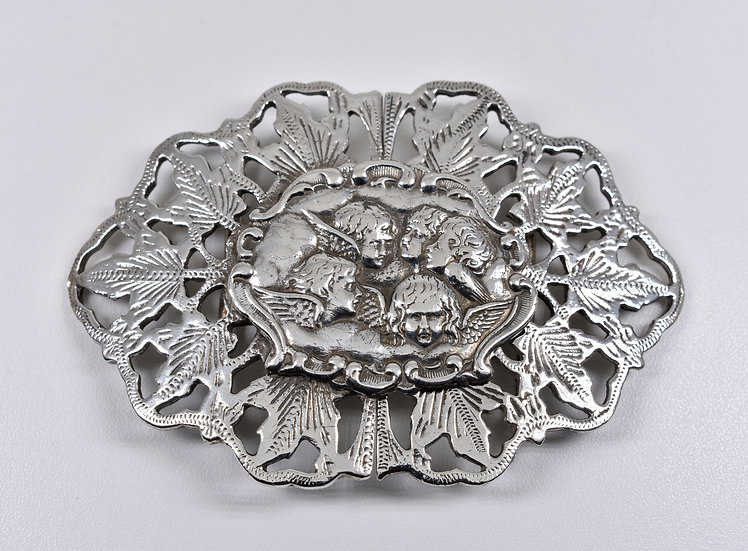Vintage Solid Sterling Silver Nurses Buckle, Hugh Crawshaw, 1992