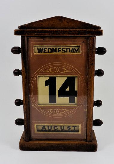 Antique Art Deco Oak Desk Top Perpetual Calendar, c1930